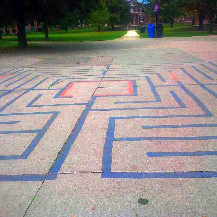 Handmade labyrinth in Grange Pk Toronto - humble, a bit cramped but works spirituality - twitter-com-bintagirl-status-636963299553320960