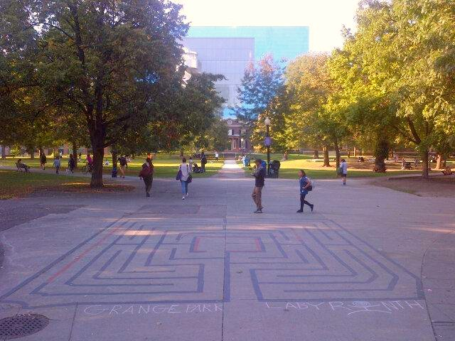 Walking by my Grange Park Labyrinth in Downtown Toronto - twitter-com-LabyrinthsDOTca-status-644267465871130624