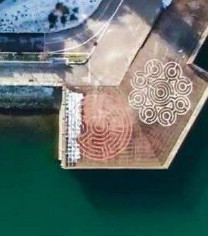 Aerial Photo – Labyrinth Pier – Granville Island – False Creek